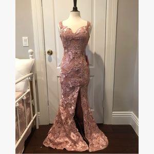 Blush, Sweetheart Neckline,Thigh-Slit Gown